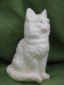 depression vintage carnival chalkware cat w/ rhinestone eyes, dated 1935