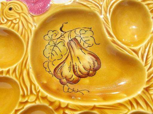 deviled egg plate, hand painted ceramic hen or rooster tray, vintage Japan