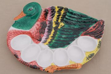 deviled egg tray, vintage Italy hand-painted ceramic duck egg plate
