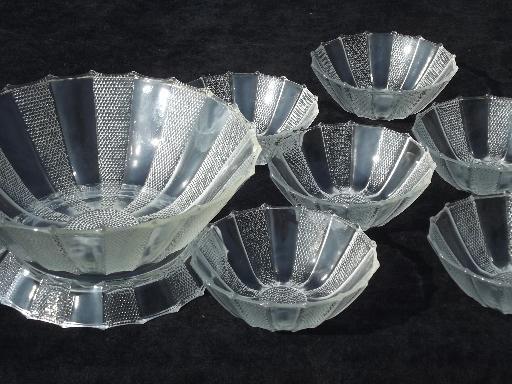 Dew Drop Pattern Pressed Glass Salad Set Dewdrop Bowl W