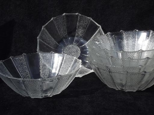 dew drop pattern pressed glass salad set, dewdrop bowl w/ stand, 6 bowls