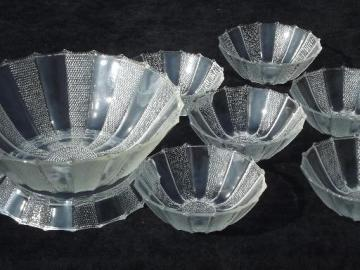 dew drop pattern pressed glass salad set, dewdrop bowl w/ stand, 6 bowls