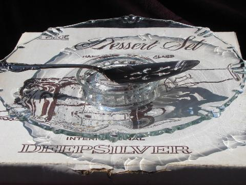 dewdrop pattern glass low pedestal cake stand plate and silver server