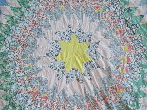 diamond star patchwork quilt starburst center, old antique cotton prints