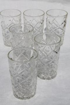 diamond thumbprint pattern depression glass juice glasses, vintage Hazel Atlas glassware