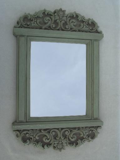 Distressed Green Country French Style Wall Mirror Vintage
