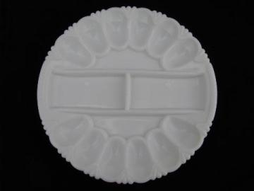 divided egg plate for deviled eggs, vintage milk white glass