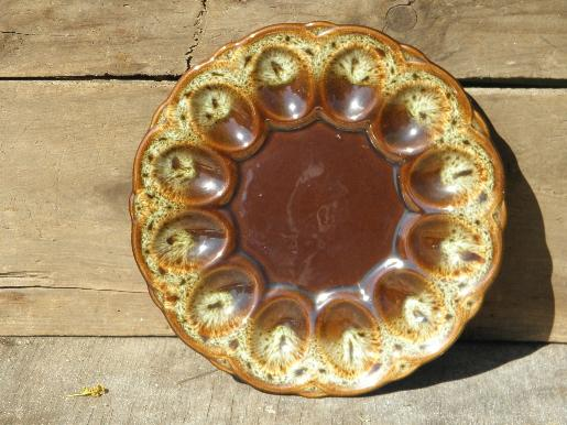 divided egg plate, vintage brown drip glaze pottery Harker rawhide?