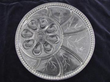 divided glass egg plate tray, vintage Indiana pressed pattern glass