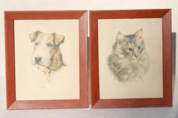 dog & cat pictures, mid-century vintage framed prints, terrier puppy & long haired tabby kitty