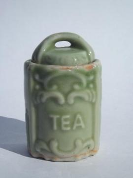 doll dishes size china Tea canister, vintage Japan, 1950s jade green