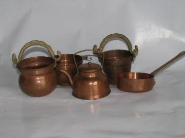 doll size miniature copper kitchenware, tiny bucket, kettle, cauldron etc.
