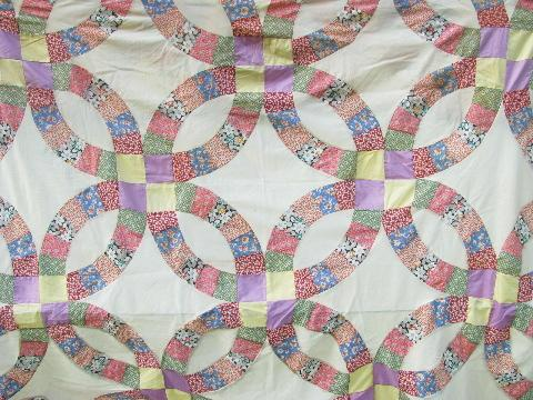 Double Wedding Ring Vintage Quilt Top Patchwork Old Cotton Print Fabric