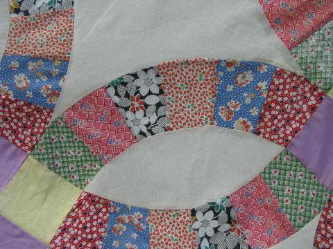 wedding ring vintage quilt top patchwork old cotton print fabric