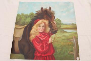 early 1900s antique picture print on fabric Little Red Riding Hood pretty girl art