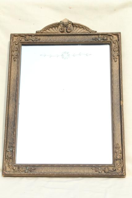 Early 1900s Etched Glass Mirror W Original Antique Gesso