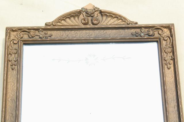 early 1900s etched glass mirror w/ original antique gesso wood frame