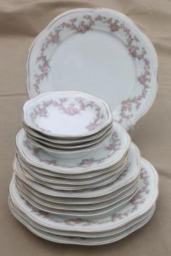 early 1900s vintage Bavaria porcelain plates & bowls, Mignon pink floral china