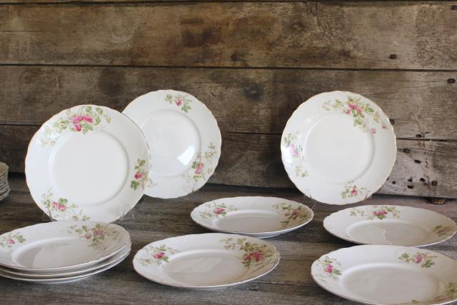 early 1900s vintage Edwin Knowles china salad / lunch plates, antique pink rose floral dishes