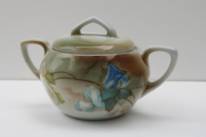 early 1900s vintage RS Germany hand painted china sugar bowl w/ art nouveau floral