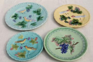 early 1900s vintage antique majolica pottery plates, birds & berries plate collection