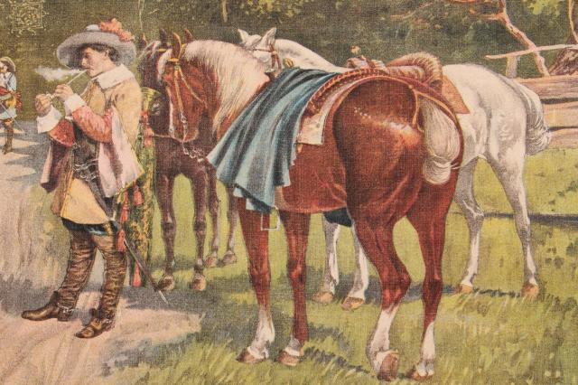 early 1900s vintage antique picture Three Musketeers art print on fabric