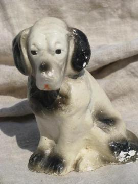 early 1900s vintage chalk dog, painted plaster spaniel chalkware figure