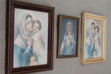 early 1900s vintage color litho religious prints, Sacred Heart Mary & Christ Child