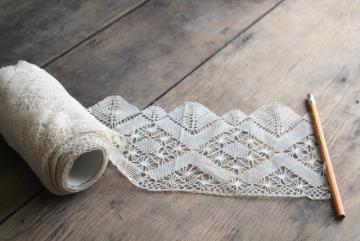 early 1900s vintage fine cotton lace edging, wide flounce trim never used