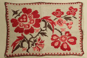 early 1900s vintage flax fabric bench cushion cover floral embroidery in heavy linen thread