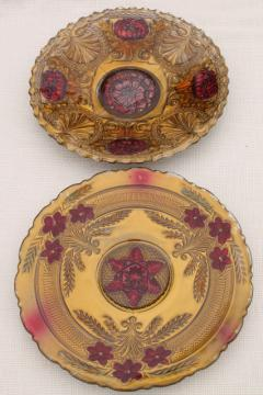 early 1900s vintage goofus glass carnival dishes, ornate roses hand painted red & gold