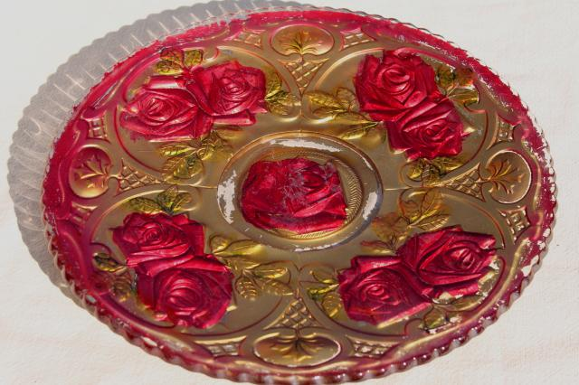 early 1900s vintage goofus glass carnival dishes, puffy glass roses hand painted red u0026 gold