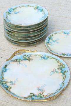early 1900s vintage hand painted china tea or dessert plates set, blue forget-me-nots