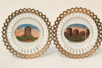 early 1900s vintage souvenir china plates, antique views of Detroit