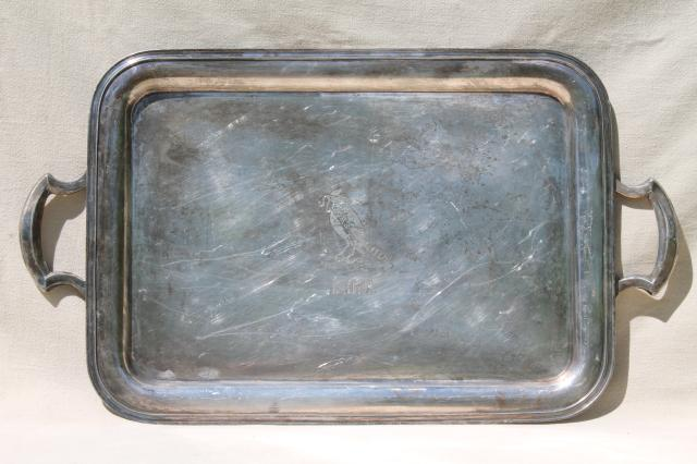 early 1900s vintage trophy silver waiter's tray w/ monogram & engraved robin bird w/ worm