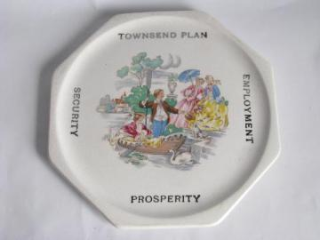 early 1930s vintage china kitchen trivet, Townsend Plan - Employment - Prosperity - Security