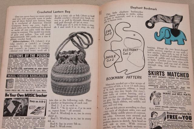 early 1950s vintage Workbasket needlework pattern magazines, 30+ back issues