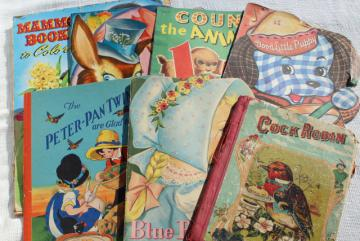 early 50s vintage children's picture books w/ retro cover art illustrations, Easter spring decor
