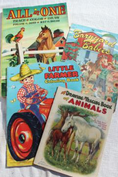 early 50s vintage children's picture books w/ retro cover art illustrations, farm country decor