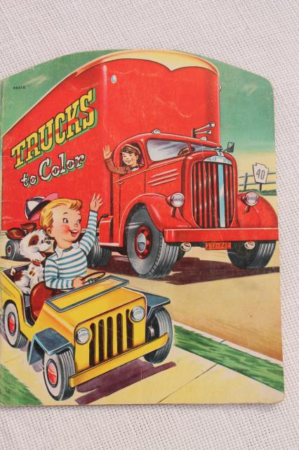 early 50s vintage children's picture books w/ retro cover art illustrations, school learning fun