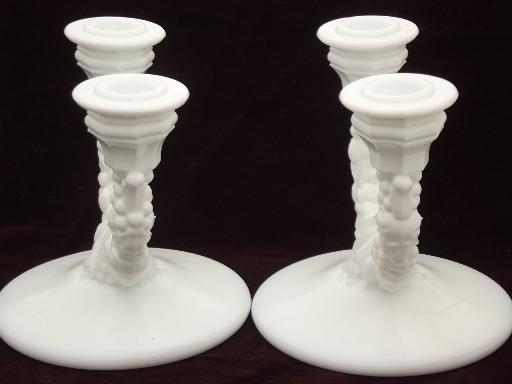 early Indiana glass paper label garland milk glass branched candle holders