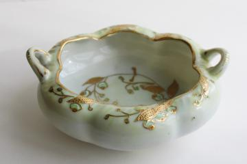 early Japan mark hand painted gold moriage china dish, melon shaped bowl w/ handles