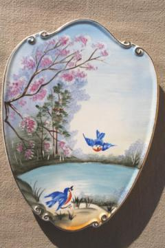early Lefton Japan china wall plaque, hand-painted picture bluebirds flying