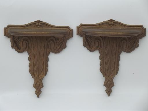 Early Syroco Wood Pressed Wood Wall Shelves Antique