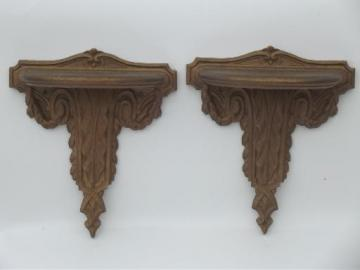 early Syroco Wood pressed wood wall shelves, antique bracket shelves set