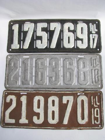 & early auto license plates lot Illinois vintage 1917 1918 1919