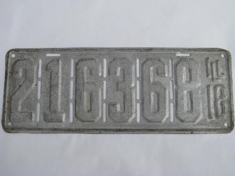 & early auto license plates lot Illinois vintage 1917 1918 1919