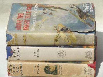 early aviation adventure series books, 20s vintage pulp cover art jackets