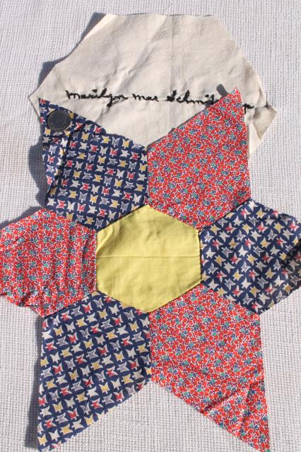 early century vintage friendship quilt blocks, cotton patchwork stars, embroidered album spacers