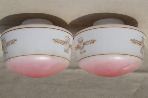 early electric light shades, painted milk glass schoolhouse pendant lamp shade pair ca. 1920